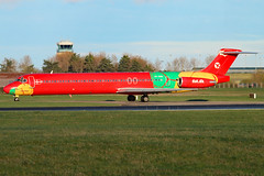 OY-RUE (GH@BHD) Tags: oyrue mcddouglas mcdonnelldouglas douglas dc9 md80 md83 dat danishairtransport logojet specialcolours dub eidw dublin dublinairport dublininternationalairport airliner aircraft aviation