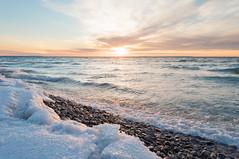 _DSC0876-3 (phatwhistle) Tags: michigan lakemichigan sunset leelanau greatlakes beach snow clouds seascape landscape waves rocks petersonpark cold goldenhour northport
