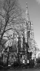 Morningside on a spring morning 04 (byronv2) Tags: edinburgh edimbourg scotland morningside holycorner morningsideroad church kirk steeple spire tower architecture building blackandwhite blackwhite bw monochrome