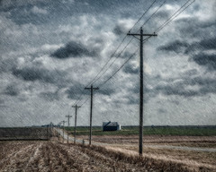 County Road (David DeCamp) Tags: rural county road poles powerlines texture nikon sky field blue