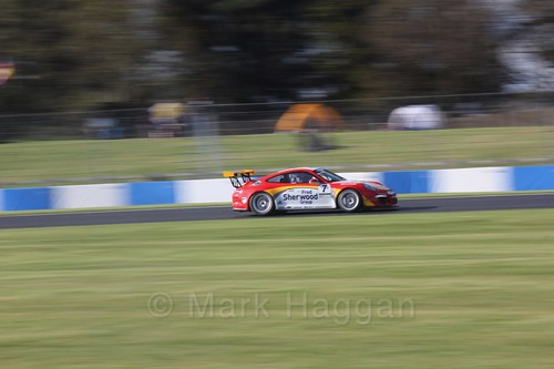 Justin Sherwood in the Porsche Carrera Cup Race One during the BTCC Weekend at Donington Park 2017: Saturday, 15th April