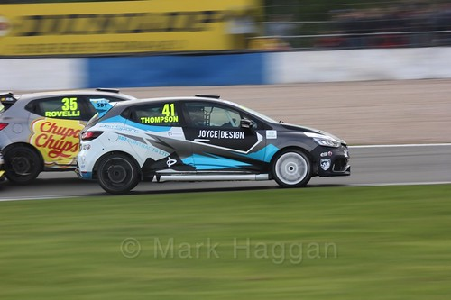 Aaron Thompson passes Oscar Rovelli in Renault Clio Cup Race Three at the British Touring Car Championship 2017 at Donington Park
