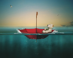Castaway (RoCafe on/off) Tags: photoshop photomanipulation fantasy naif conceptual surrealism sky umbrella teddy sea seagulls colorful