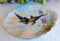 Vintage Limoges Porcelain Hand Painted Platter ~ Mallard Bird Flowers (Donna's Collectables) Tags: vintage limoges porcelain hand painted platter ~ mallard bird flowers