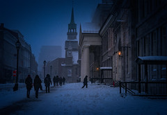 detour (JimfromCanada) Tags: montreal winter cold evening light warmth blue freeze freezing procession alone attract attraction old vintage heritage historic quebec canada