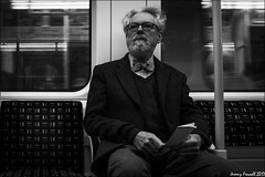 Tube Gent (zolaczakl) Tags: london blackandwhite mono monochrome photographybyjeremyfennell april 2017 fujix100s tube candid streetscenes people