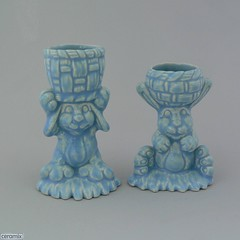 ceramix.co.za-2 Basket Bunny Egg Cups Blue (ceramix.co.za) Tags: ceramic ceramix madeinsouthafrica handmade bunnyeggcups eggcups babyblue glazed easter