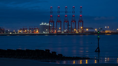 Across a hazy Mersey (Brian Negus) Tags: lights night merseyside crane rivermersey docks reflection liverpooldocks wallasey newbrighton