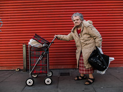 Mary : Dubliner (Stoneybutter) Tags: dubliners mary meathstreet portrait people dublin ireland theliberties elderly oldpeople irish shoppingtrolley tartan shopping