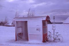 winter (Andy Kennelly) Tags: iceland reykjavik snow winter bike shelter red february cold film slide velvia busshelter