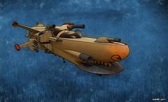 Gunship (kenmojr) Tags: starship spaceship gunship artillery sciencefiction scifi outerspace fantasy comicbook kenmo kenmorris vehicle future futuristic illustration digitalart