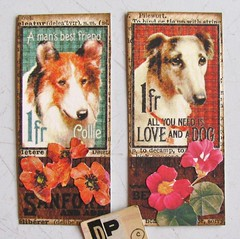 Mini Moo Cards 19 (Lydia's Post) Tags: collage smallart cutandpaste dog dogart minimoo moocard scrapbookpaper graphic45