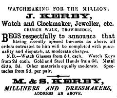 J.Kerby, Watchmaker, Church Walk, Trowbridge 1861 (Trowbridge Postcards & Ephemera) Tags: trowbridge wiltshire churchwalk watchmaker
