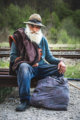 Traveler (WhiteShipDesign) Tags: gypsies traveler beard authentic vintage hat smoking couple woman wife leather textures male old portrait face person senior grandfather hair white adult father sad closeup mature aged man human elderly wisdom black moustache people age thinking expression retirement retired