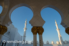 United Arab Emirates - Arches and towers of the Sheikh Zayed Mosque in Abu Dhabi (Remsberg Photos) Tags: middleeast abudhabi architecture gold decorative beauty tranquil exotic arches mighty mosque grandmosque worship sheikhzayedmosque art sky white clean tradition arabic arabian persiangulf emirate unitedarabemirates islam prayer muslim allah islamic religion uae