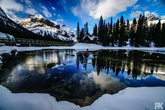 Emerald Lake Sunset (ryan.kole32) Tags: britishcolumbia field fieldbritishcolumbia bc landscape nature beauty beautyinnature travel outdoors hiking sony sonya77 teamsony mirrorimage reflection emeraldlake lake bluesky clouds cloudy trees forest winter ice snow cold peaceful calm tranquil tranquility still