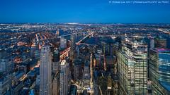 Aerial East River Blue Hour (20170408-DSC09761-Edit) (Michael.Lee.Pics.NYC) Tags: newyork onewtc worldtradecenter aerial lowermanhattan eastriver brooklynbridge manhattanbridge williamsburgbridge fourseasons woolworthbuilding 3wtc 4wtc cityhall foleysquare night longexposure twilight bluehour lighttrails sony a7rm2 voigtlanderheliar15mmf45