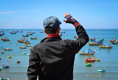 Asian tourist man looking at the sea (phuong.sg@gmail.com) Tags: above adventure asian backpack backpacking bay beautiful beauty black clouds day daylight daypack destination explore exploring ferns hike hiker hiking horizontal landscape lifestyle look male man mountain natural nature ocean overlooking pacific scenic sea see space travel trip vacation vietnam view visiting vista water
