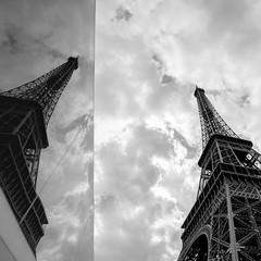rewoT lefiE Eifel Tower (xfoTOkex) Tags: reflection travel white black monochrome france paris tower eifel