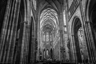 St Vitus Cathedral in Black n White, Prague, Czech Republic