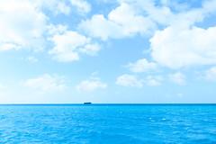 Upset in Horizon (H.H. Mahal Alysheba) Tags: sky ship sea ocean blue saipan marine nikon d800 carlzeiss zeiss distagon 28mmf2 wide