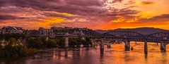 Chattanooga, TN (2) (Roland 22) Tags: walnutstreetbridge flickr reflection light boats bridges eveningglow warmtones fauxpanorama sunset tennesseeriver chattanoogatennessee
