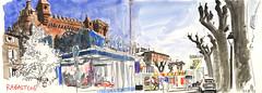 170420 Rabastens (Vincent Desplanche) Tags: rabastens tarn croquis sketch sketchbook urbansketchers seawhiteofbrighton seawhitesketchbook carandache neocolor neocolorii aquarelle watercolor