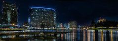 west lake lights (pbo31) Tags: eastbay alamedacounty nikon d810 color night dark april 2017 spring boury pbo31 bayarea california oakland black lakemerritt reflections skyline downtown city urban lake panoramic large stitched panorama structure church cathedral catholic kaiser dock