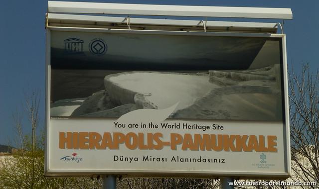 Cartel a la entrada de Pamukkale