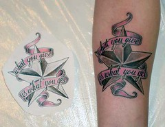 nautical star with pink ribbon banner tattoo (tattoos_addict) Tags: pink tattoo star with banner ribbon nautical startattoo