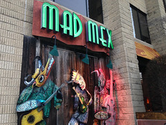 (Shane Henderson) Tags: autumn trees windows green fall animals sign architecture lights restaurant neon branches guitars goat bull mexican lamps sculptures madmex robinsontownship