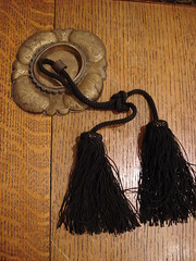 "CHINESE BRASS ESCUTCHEON AND TASSEL. • <a style=""font-size:0.8em;"" href=""http://www.flickr.com/photos/51721355@N02/13902862194/"" target=""_blank"">View on Flickr</a>"