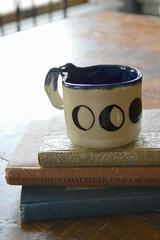 Lunar Eclipse Mug (itchinstitchin) Tags: blue moon art eclipse handmade books stack crescent homemade mug pottery lunar usefulart