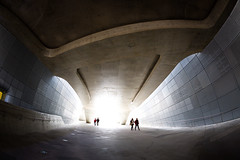 Dongdaemun Design Plaza (DMac 5D Mark II) Tags: street city light people motion blur architecture modern design silhouettes seoul southkorea dpp futuristic cyberpunk backlighting intenselight intothelight dongdaemundesignplaza