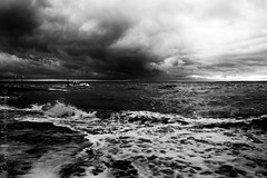 the launch (Georgio's Photography) Tags: sea sky blackandwhite water monochrome mono coast whitstable rnli scenicsnotjustlandscapes