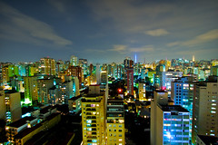 (elzauer) Tags: city brazil silhouette brasil skyline architecture night buildings outdoors photography lights cityscape nightlights saopaulo dusk sãopaulo citylife nopeople development crowded urbanskyline capitalcities cloudsky colorimage sãopaulostate buildingexterior highangleview