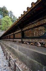 Nikk Screen (iainwalker) Tags: tree japan stone outside gold religion overcast screen carving barrier panels nikko gravel 2014 cryptomeria nikk nikktshg nikond7100