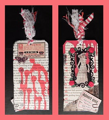 Tori (Morganthorn) Tags: art rose collage glitter altered butterfly magazine costume blood mixedmedia label tag victorian vine ticket fabric horror booklet poison melodramatic cheap bookmark pamphlet pennydreadful