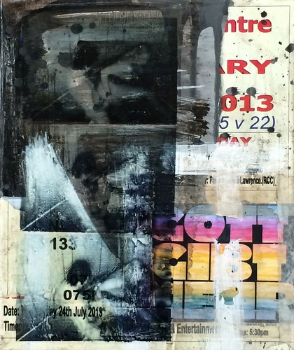Zavier Ellis 'Repent III', 2014 Acrylic, c-type print, tape, acetate, poster on linen 30x25cm