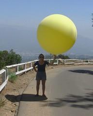 037 Artist Deploying Balloons (saschmitz_earthlink_net) Tags: california losangeles walks artist hiking balloon hike hollywood railing griffithpark santamonicamountains hollywoodhills 2014 mountleedrive