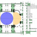 Plan with Dome in Blue, Half Domes in Yellow, and Piers and Masonry Supports in Green