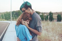 (lonelylanding) Tags: blue boy sun texture lana girl del photoshop hair anne glasses countryside photo friend couple pretty you best filter when rey cry dyed melancholia vall grounge cs5 annevall