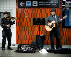 Buskers at Eglinton (keeparmin) Tags: blackandwhite music toronto ttc duo streetphotography busker