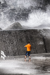 The boy who loved the waves (Theophilos) Tags: boy wave crete splash rethymno