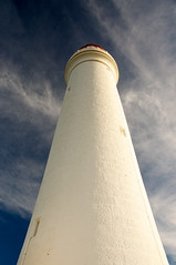 Looking Up the Lighthouse (kieranburgess) Tags: blue sky cloud lighthouse reaching perspective australia victoria column cirrus capenelson