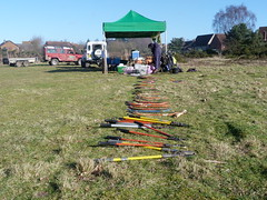 Tools laid out ready for the volunteers