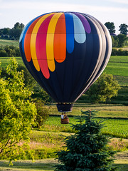 Searching For a Landing Spot (Painted Light Studio) Tags: travel summer sky festival wisconsin rural balloons landscape flying view unitedstates farm country rally farming balloon transportation monroe chase hotairballoon chasing 2014 greencounty monroeballoonrally