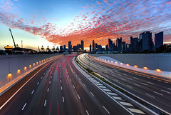 TWB_4231 (xxtreme942) Tags: sunset clouds highway singapore freeway expressway mce lighttrail burningclouds nicesunset singaporefinancialdistrict marinacoastalexpressway