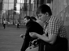 Disturbing Message (City and People #02 ) (Andrey  B. Barhatov) Tags: street city people urban blackandwhite bw black face outdoors mes
