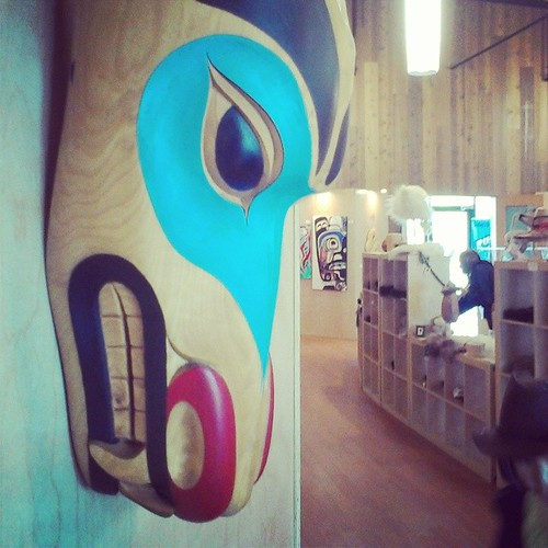 Wolf Mask by #yxy # Yukon artist Christina Peters overlooks Adäka festival's gallery and gift shop